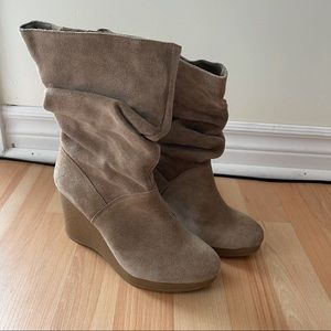 Taupe Suede Wedge Heel Boot